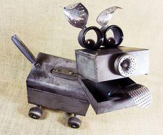BARKER  robot dog assemblage sculpture  by reclaim2fame on Etsy, $249.00