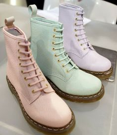 """Saw these first described as """"pastel military boots"""" which sort of cracked me up. Finally tracked them to the Spring/Summer 2011 Dr. Martens line, which I no longer find being sold on their site (though they are on eBay). See that year's wild releases (including animal prints and florals) here: http://bunnipunch.blogspot.com/2010/12/dr-martins-press-preview.html"""