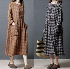 13b5a94fb6e657 Spring Autumn Loose Fit Dress Womens Cotton Linen Long Sleeve Linen A-Line  Dress