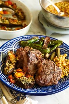 Lamb Chops with Roasted Okra, Zucchini, Lady Peas and Soffrito. From Chef Frank Stitt of Highlands Bar and Grill, Birmingham, Alabama. Photo by Melina Hammer.