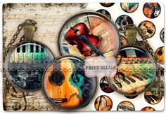 Digital Collage Sheet Cabochon images 1.5inch 18mm by PrintCollage