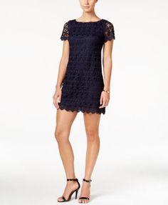 Jessica Howard Petite Short-Sleeve Floral-Lace Sheath Dress   macys.com
