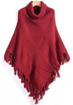 Red High Neck Tassel Knit Cape