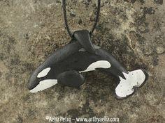 Keiko Orca Free Willy Pendant Killer Whale Necklace by ArtByAelia