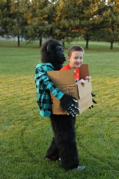 Kev's 5th grade Halloween costume - boy in a box being carried by a gorilla.  Found instructions online