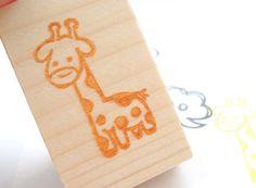 Giraffe stamp Cute animal stamp Zoo stamp by JapaneseRubberStamps