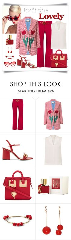 """""""Gucci Tulip Triangle Check Blazer Look"""" by romaboots-1 ❤ liked on Polyvore featuring Gucci, Elie Tahari, Sophie Hulme, Carolina Herrera, Accompany and Spektre"""