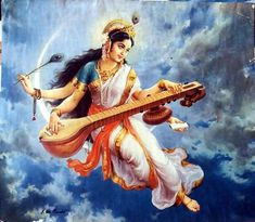29 ideas for mother nature statue Saraswati Painting, Krishna Painting, Krishna Art, Saraswati Mata, Saraswati Goddess, Indian Goddess, Goddess Art, Lord Vishnu Wallpapers, Hindu Dharma