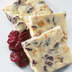 Cranberry Orange Bark  White chocolate with bit of orange peel and cranberries. Delightful!