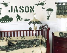 Soldiers Military GI Joe Wall Sticker Army Navy Marines Personalized Name Vinyl Decor Children's Bedroom Playroom Nursery Kid's Art Home Army Baby, Baby Boy Camo, Camo Baby Stuff, Military Bedroom, Army Bedroom, Vinyl Decor, Vinyl Wall Decals, Wall Sticker, Minecraft Banner Designs
