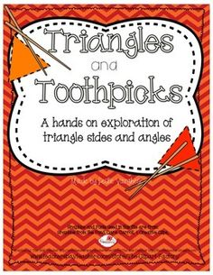 A hands on activity where students build triangles using toothpicks, and then classify them by sides, angles, or both. Geometry Lessons, Math Lessons, Math Tips, Math Resources, Math Activities, Classroom Resources, Classroom Ideas, Fifth Grade Math, Fourth Grade