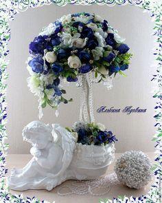 """Топиарии ручной работы. Ярмарка Мастеров - ручная работа. Купить Топиарий-"""" """"Flower angel""""(дерево счастья). Handmade. Тёмно-синий"""