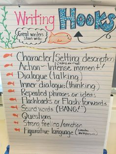 "Writing ""hooks"" anchor chart for our 4th grade realistic fiction unit."