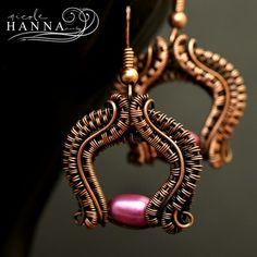 Pink pearl wire wrap copper earrings