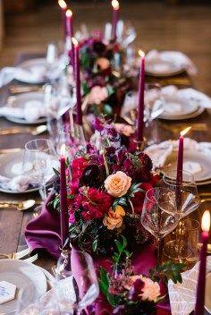 Whimsical Crimson and Green Holiday Wedding Inspiration – Stacy Able Photography 25 Fern Wedding, Jewel Tone Wedding, Wedding Ceremony, Wedding Flowers, Dream Wedding, Wedding Bells, Ruby Wedding, Wedding Signage, Purple Wedding