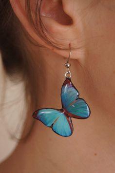 Blue Handmade Polymer Clay Butterfly Earrings. $18.00, via Etsy.