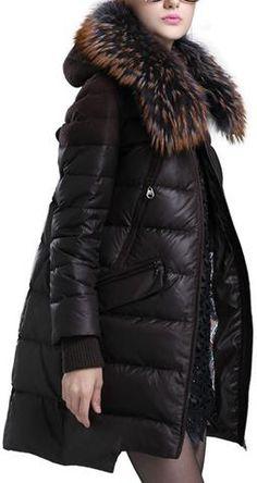 Fur Hooded Asymmetric-Hem Puffer Down Coat in Brown