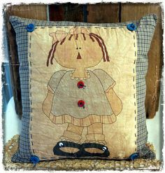 12x12 Annie Pillow by PrimitiveRaggedys on Etsy, $22.00