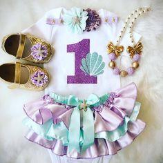 Mermaid Birthday/ Mint Lavender Outfit/First Birthday outfit/Little mermaid/Cakesmash/Under the sea/Seashell/Birthday Bloomer/Aqua Lavender