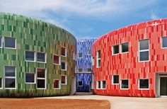 Children Education Center. The colors and materials are key players in the project.  Rounded shapes invite exploration, encouraging nearness without the danger of roughness or sharp ends, being children safety first and foremost.
