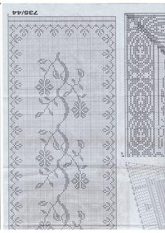 "Photo from album ""Burda_fileinoe on Yandex. Filet Crochet Charts, Crochet Stitches, Cross Stitch Freebies, Crochet Tablecloth, Making 10, Monochrom, Bohemian Rug, Album, Embroidery"