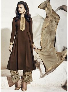 Brown Colour Georgette Embroidery Designer Pakistani Style Salwar Kameez-1003-B