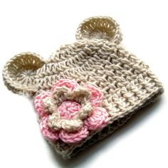 Crochet Baby Hat Baby Girl Crochet Hat with Ears Beige por Karenisa