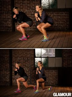 Squat down on your left leg, right toes just touching the floor for balance. Without standing up, move your right leg back into a lunge. Keep your left leg bent and return your right leg to starting position. Do 15 reps, then repeat on the other side.