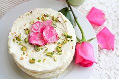 rose and pistachio cake aka Persian Love Cake Cupcakes, Cupcake Cakes, Cake Recipes, Dessert Recipes, Pistachio Cake, Rose Cake, Let Them Eat Cake, Beautiful Cakes, Just Desserts