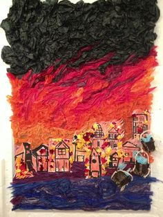 Great fire of London mix work of school kids and incredibly clever art teacher Fire London, Great Fire Of London, The Great Fire, Classroom Art Projects, Art Classroom, School Projects, Classroom Ideas, School Displays, Classroom Displays