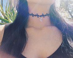 90s grunge – Etsy ES black choker moon-Tattoo necklace
