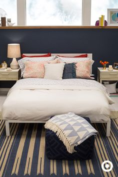 """Your bedroom should be your happy place, yet it's often the last place we decorate. Snooze. Pick a color palate that calms you, makes you comfortable and gets you thrilled to go to bed. These blues are absolutely dreamy."" #ad"