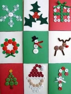Easy peasy & oh so cute -- Tarjetas de Navidad con Botones -- Christmas Cards with Buttons Homemade Christmas Cards, Christmas Cards To Make, Christmas Gift Tags, Xmas Cards, Handmade Christmas, Christmas Fun, Christmas Decorations, Button Christmas Cards, Childrens Christmas Card Ideas