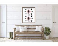Black and White Rustic Modern Print Decor, Minimalist Wall Art, Pink Wall Art, Aztec Wall Art, Home Decor, Modern Prints, Art Prints Boho, Southwest Decor, Rustic Modern Print