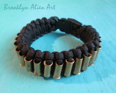Bold Paracord Bullet Shell Bracelet  - One of a Kind Mens Unisex Jewelry. $28.00, via Etsy.