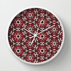Black, white and red graffiti stars 9055 Wall Clock worldwide shipping available by Khoncepts.com