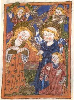 St. Clara van Assisi.. < 1500. Boekverluchtiging Hs. Thennebach, Vita van St.Clara Duitsland, Karlsruhe, badische Landesbibliothek Franciscus snijdt Clara de haren af.
