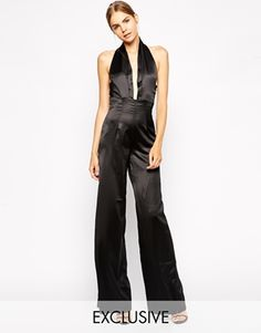 Solace London Hans Lux Plunge Neck Jumpsuit