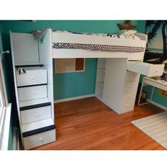 Twin Over Full Loft Bed Space Saver with Stairs and Drawers