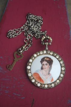 Unique Cameo Assemblage necklace, pocket watch, miniature painted portrait, Limogues, cameo, Statement necklace, seed pearls, vintage key, Cameo Jewelry, Royal Jewelry, Jewellery, Pocket Watch Necklace, Silver Pocket Watch, Celtic, Gothic, Medieval Jewelry, Vintage Keys