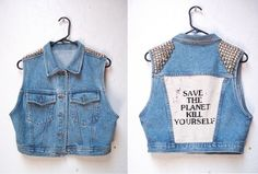 SALE Cropped Denim Punk Vest with Studded Shoulders and Backpatch Free Shipping. $225.00, via Etsy.