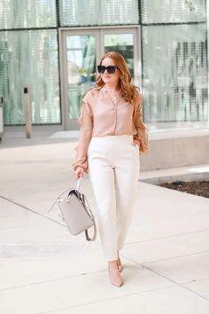 Work Neutral Look For Now And Later - Oh What A Sight To See Cute Work Outfits, Summer Outfits, Summer Work Wear, Neutral Outfit, White Pants, Work Pants, Wool Coat, Workwear, New Look