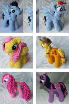Kids will go wild when they see it! My Little Pony: Friendship is Magic by Knit One Awe Some is a beautiful pony and he's got friends! Meet the yellow (With pony tails) and pink (with curly hair) Earth ponies, the purple Unicorn, the yellow Pegasus with closed wings and pink hair and the blue …