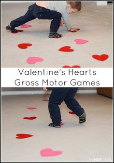 Valentine's Day themed gross motor boredom busters for kids from And Next Comes L