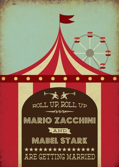 Funfair Circus Themed Vintage Retro Style Wedding Invitation £2.00