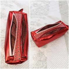 Trousse Zip-Zip simili Metalik rouge cousue par Peggy - Patron trousse Sacôtin