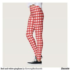 Red and white gingham leggings