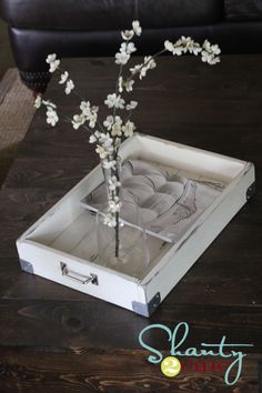 DIY Coffee Table Tray~I like this clever idea:-) . Wooden Diy, Wooden Boxes, Wooden Crafts, Shanty 2 Chic, Ottoman Tray, Coffee Table Tray, Table Centerpieces, Decoration, Making Ideas