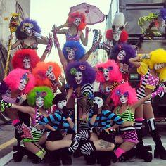The clown fam  costumes by @mseasy for @team_ez_entertainment | #edc #edc2013 #edcvegas #insomniacevents #performer #dancer #clowns #costume #mime #teamez #neon #edm #musicfestivals #festivals #carnival #flowers #teamezentertainment