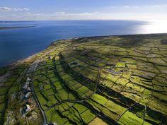 stone wall fields on the Aran Islands, Galway, Ireland Ireland Vacation, Ireland Travel, Galway Ireland, Tourism Ireland, Cork Ireland, Uk And Ie Destinations, Vacation Destinations, Vacations, Aran Islands Ireland